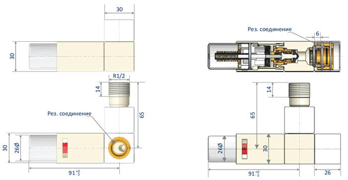 Узлы термостатические серии Square